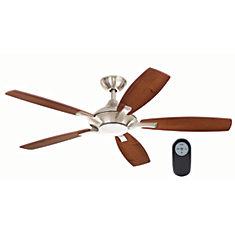 Ventilateur de plafond d'intérieur Petersford à 5pales, DEL, télécommande, 52po, nickel brossé