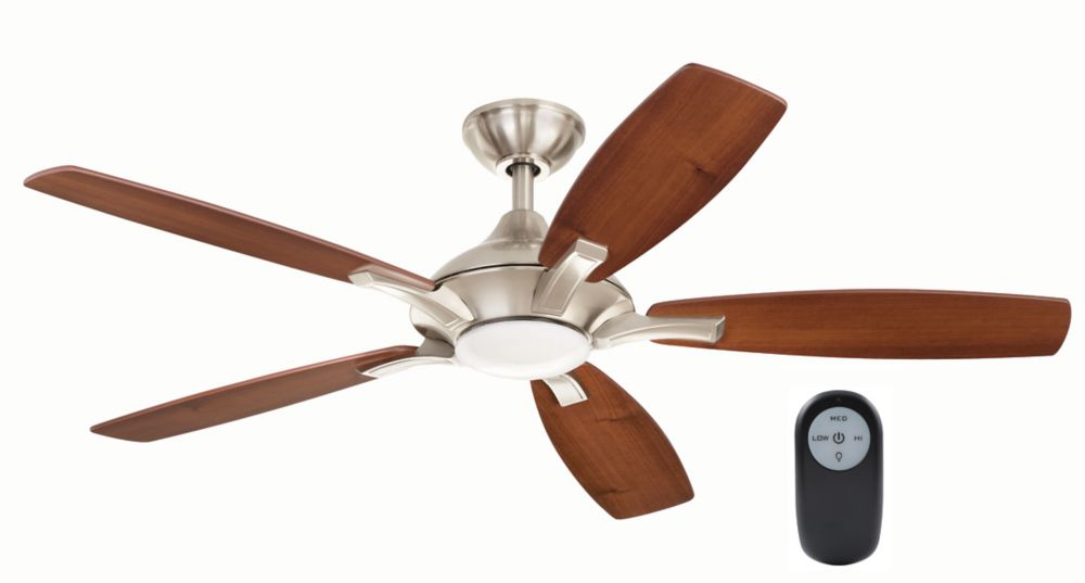 Home Decorators Collection Petersford 52-inch 5-Blade LED Brushed Nickel Indoor Ceiling Fan with Light Kit and Remote Control