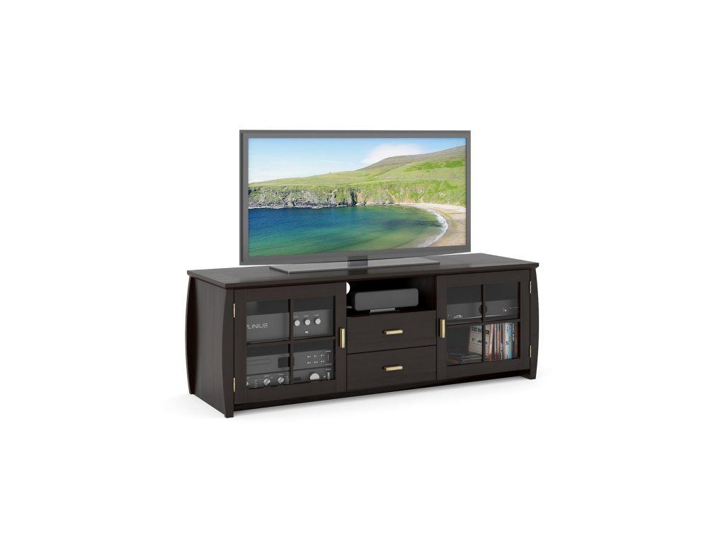 B-601-BWT Meuble de TV de 59 po de la collection Washington de placage de bois de couleur noir Mo...