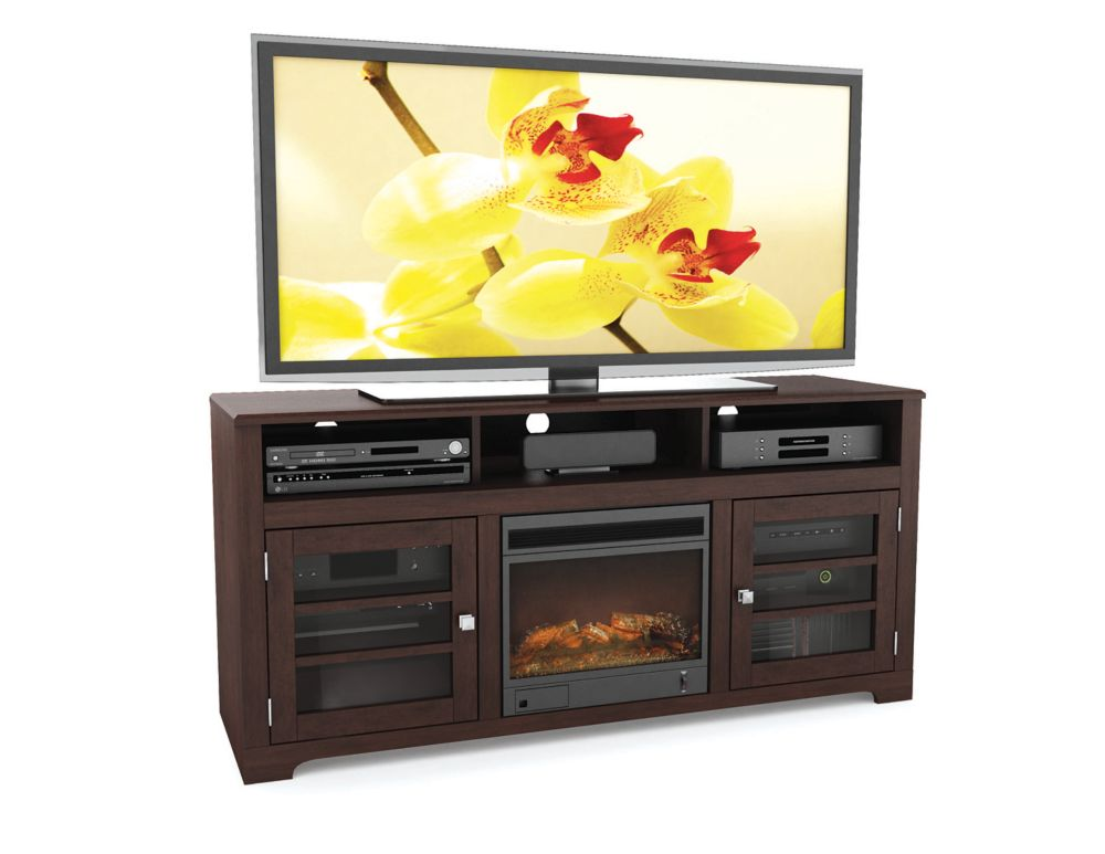 F-192-BWT - Meuble TV de 60po avec Foyer de la collection Westlake, Espresso Foncé
