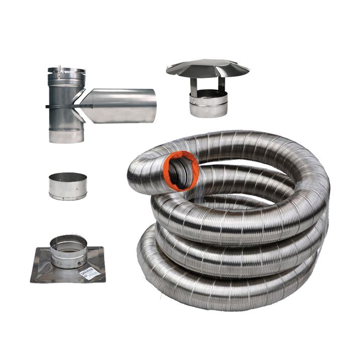 35 Feet. Stainless Flex Liner Kit For Stove  (6 Inch )