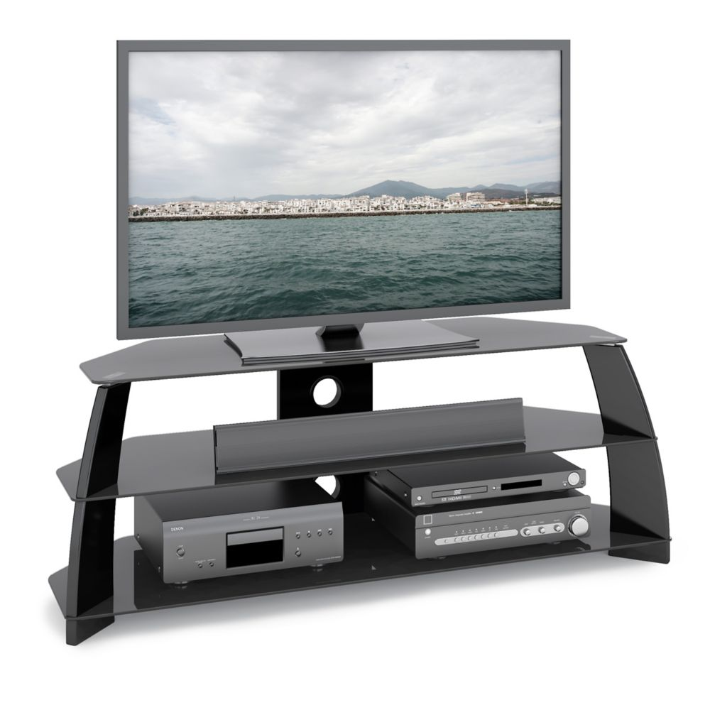 TAP-509-T Taylor Glossy Black TV Stand with Glass Shelves
