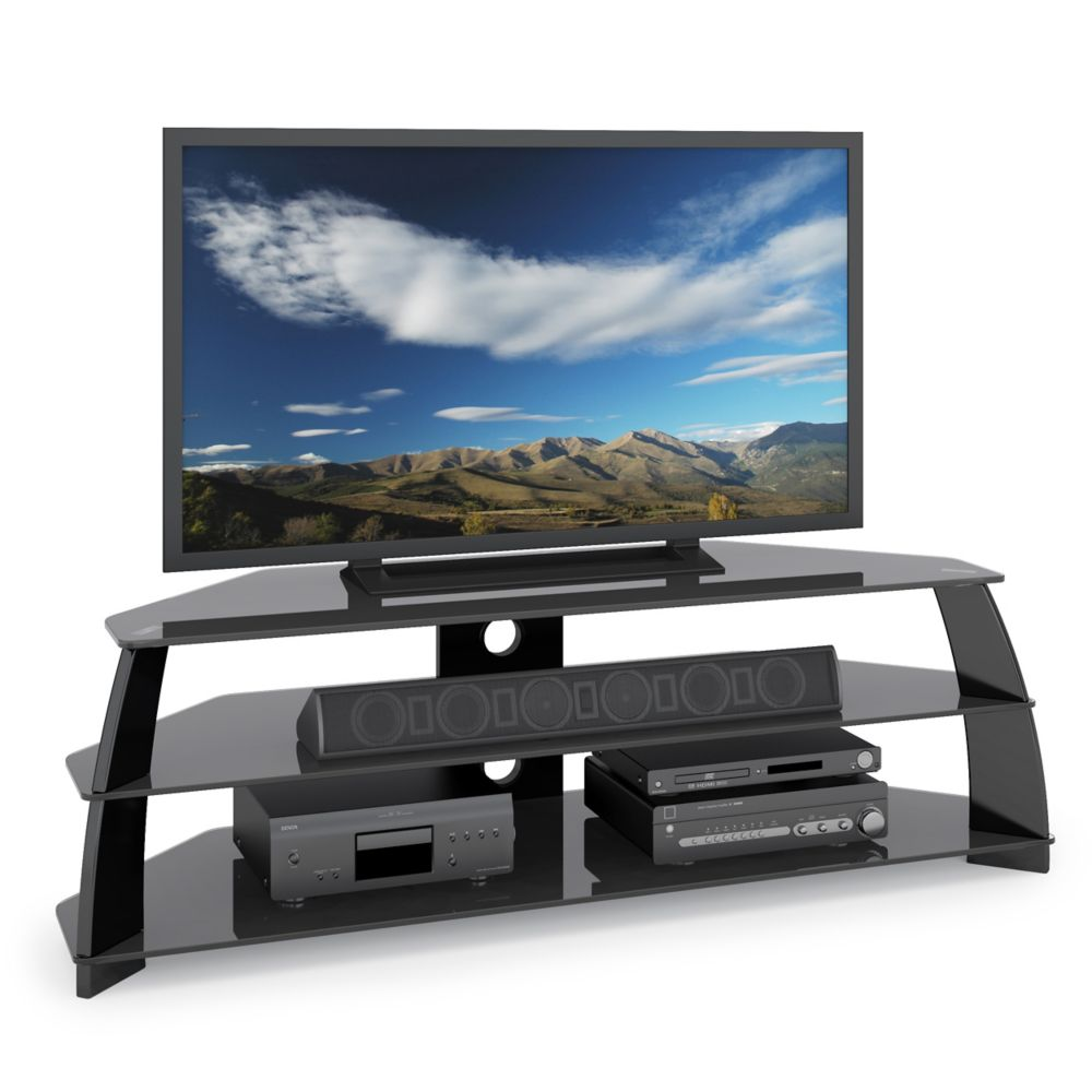 TAP-609-T Taylor Extra Wide Glossy Black TV Stand with Glass Shelves