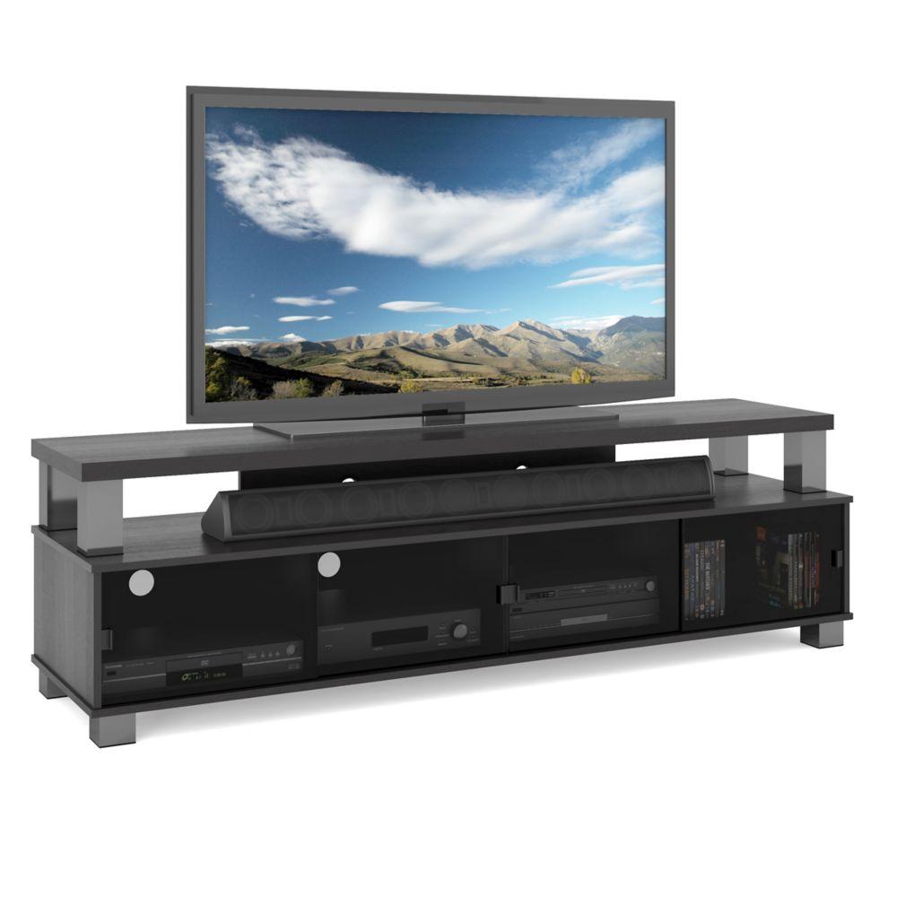 B-003-RBT - Meuble TV de 75 po à deux niveaux  de la collection Bromley, Noir Ravenwood