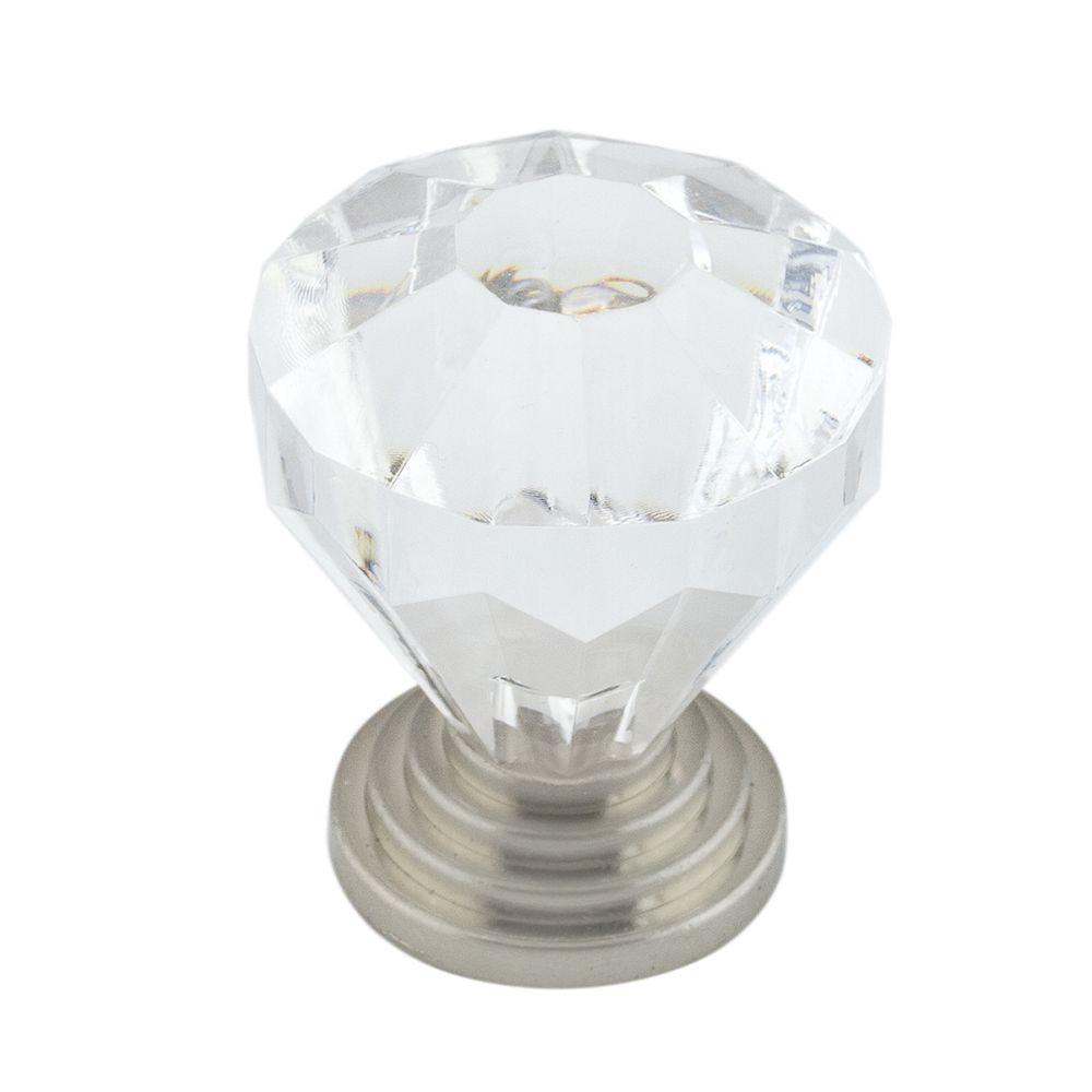 Bouton classique en acrylique - Nickel brossé, Acrylique - Dia. 32 mm