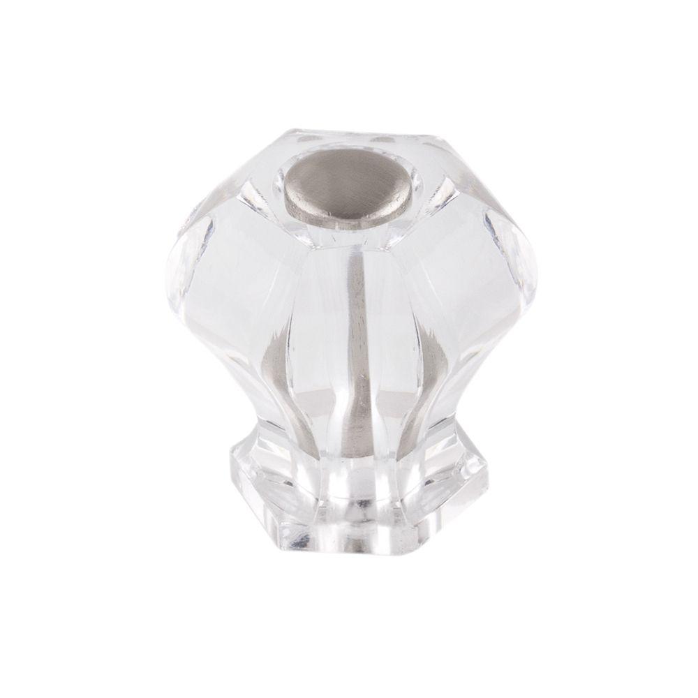 Contemporary Acrylic Knob - Brush Nickel, Acrylic - 27 Mm Dia.
