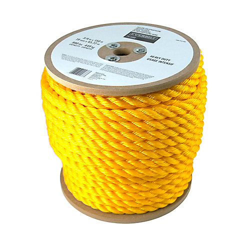 3/4 Inch x 150 Feet  Twisted Yellow Polypropylene Rope
