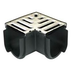 RELN Storm Drain Deep Series Corner with Stainless Steel Grate