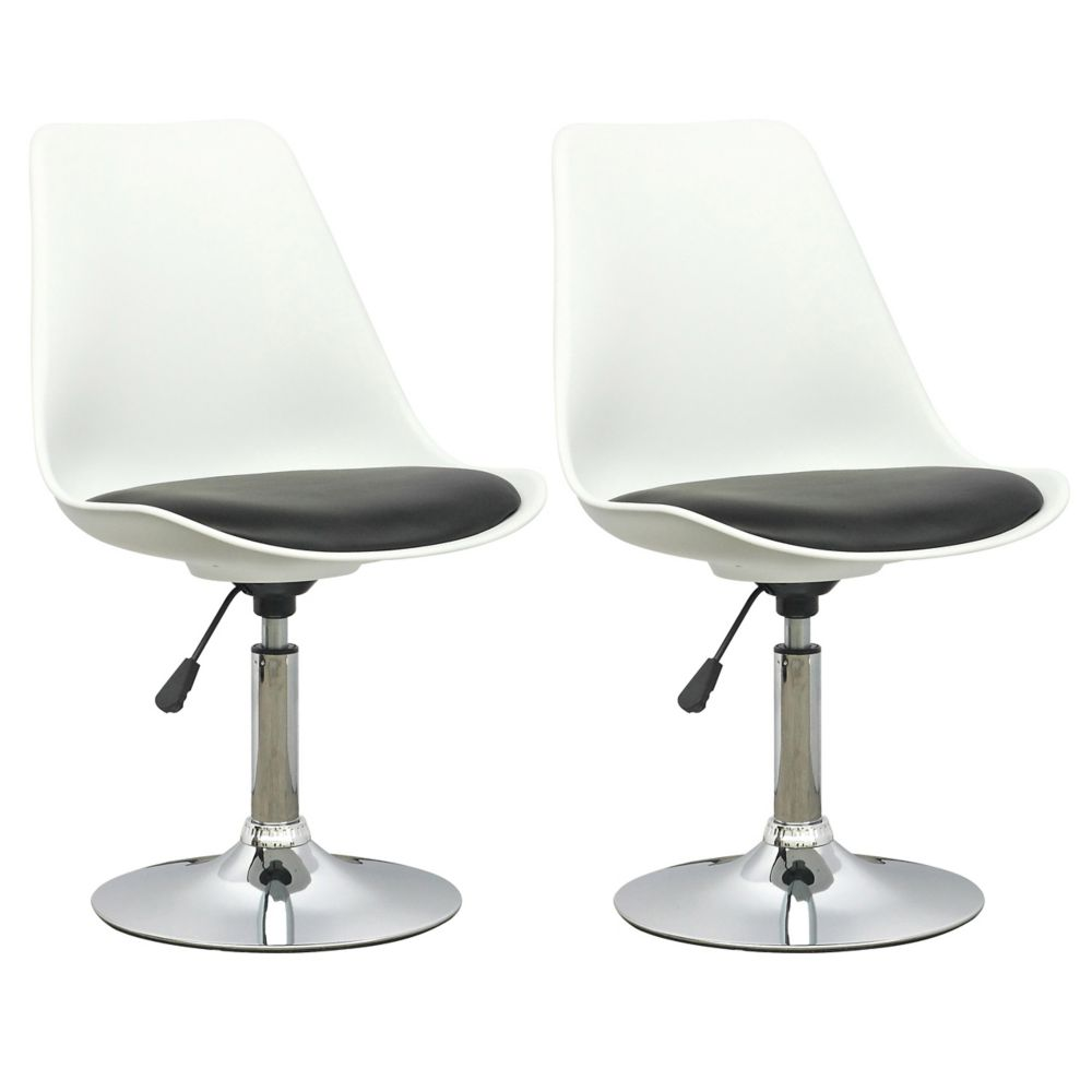 DAB-200-C Adjustable Chair in White with Black Leatherette Seat, set of 2