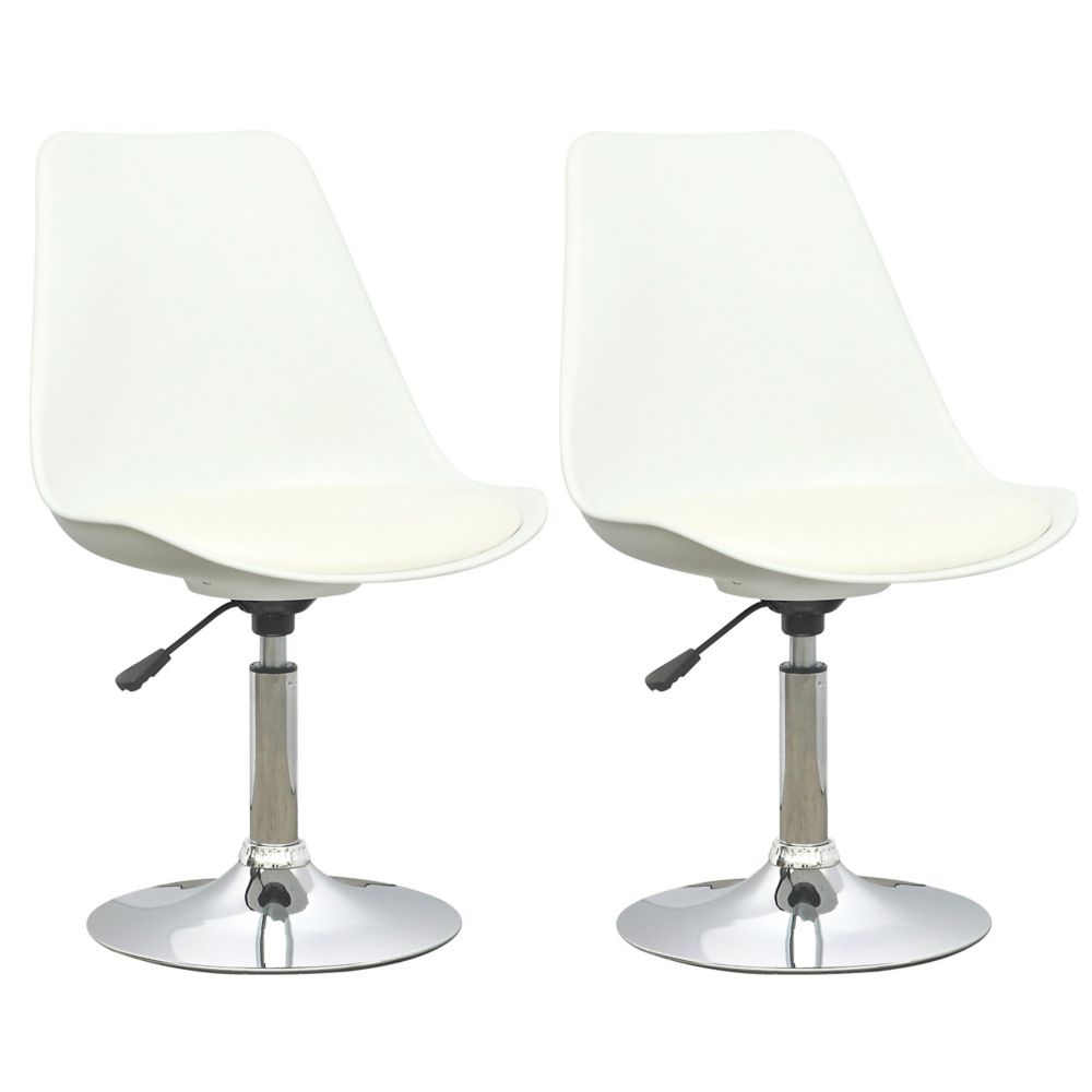 DAB-210-C Adjustable Chair in White with White Leatherette Seat, set of 2