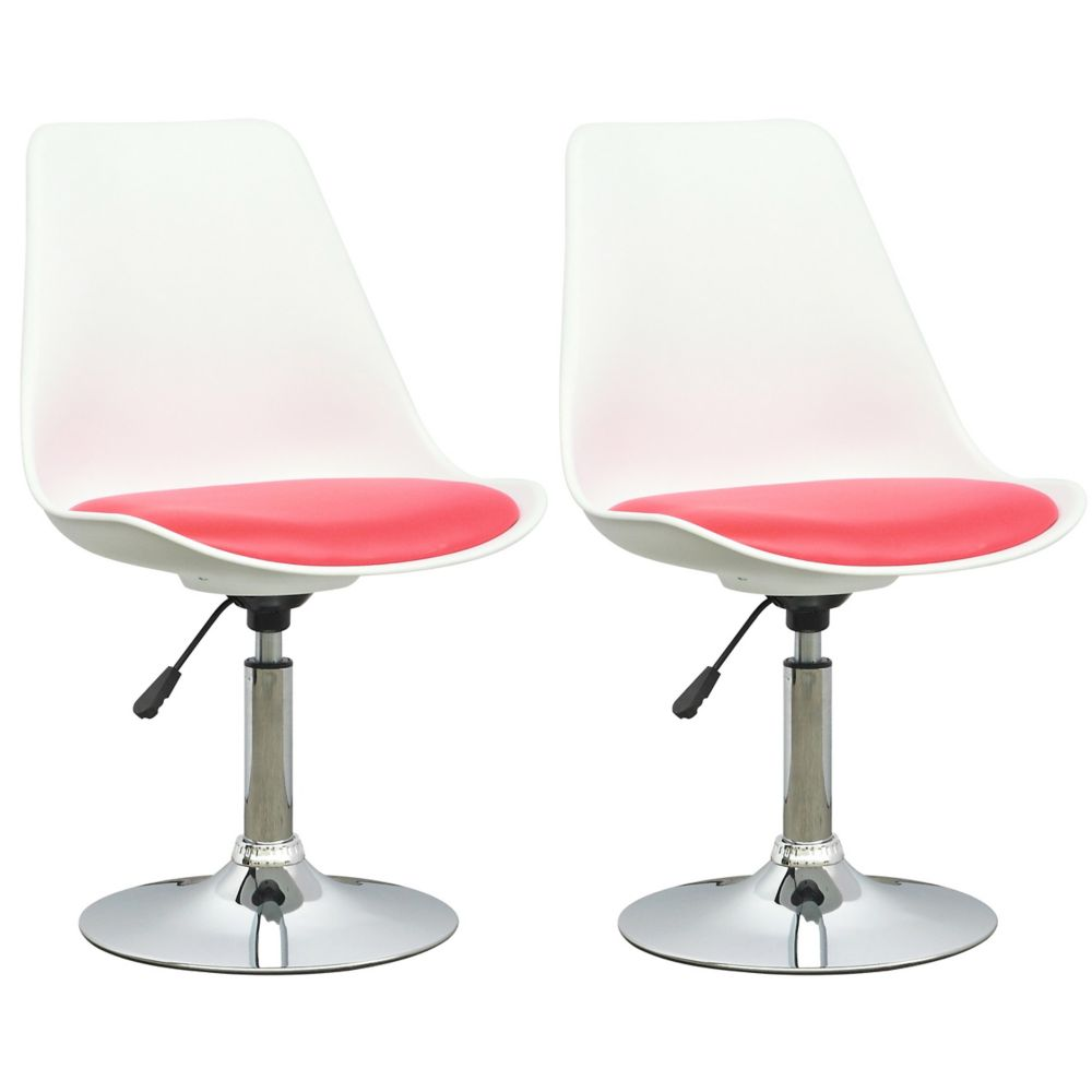 DAB-250-C Adjustable Chair in White with Red Leatherette Seat, set of 2
