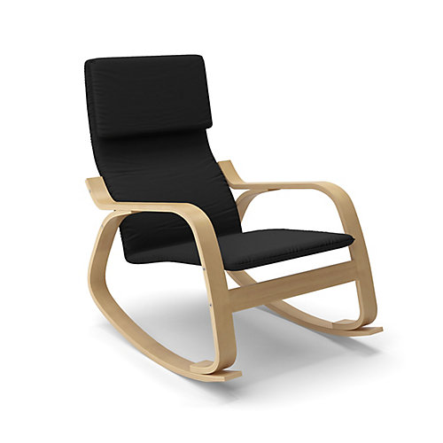 Aquios Cotton Rocking Chair in Black