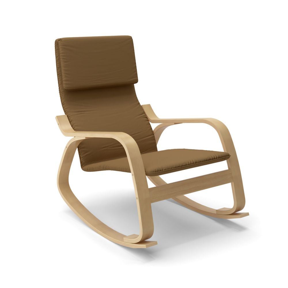 LAQ-625-C Aquios Bentwood Contemporary Rocking Chair in Warm Brown