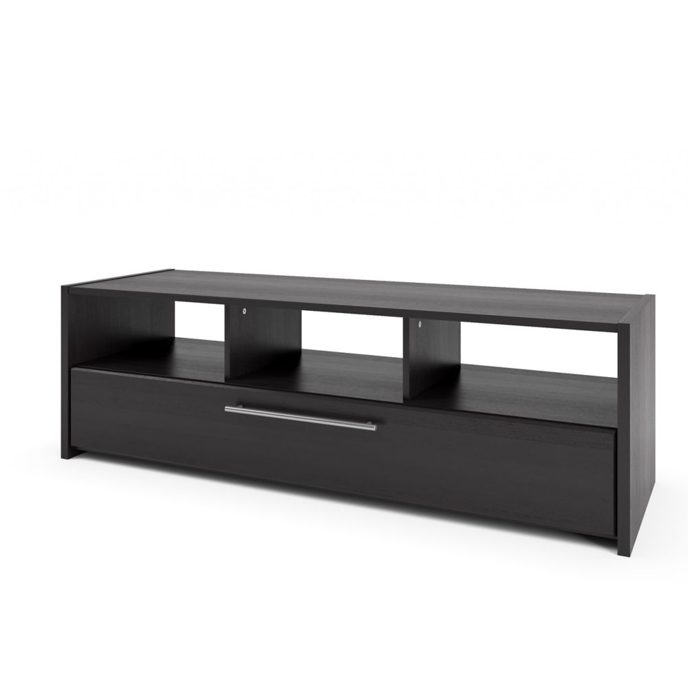 TNP-608-B Naples TV/Component Bench in Wood Grain Black