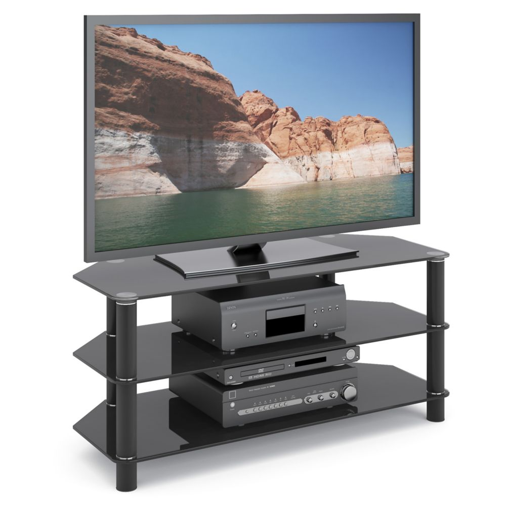 TRA-703-T Trinidad Black Glass TV/Component Stand