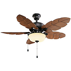 Home Decorators Collection Palm Cove 44-inch 5-Blade 2-Light Natural Iron Indoor/Outdoor Ceiling Fan with Light Kit