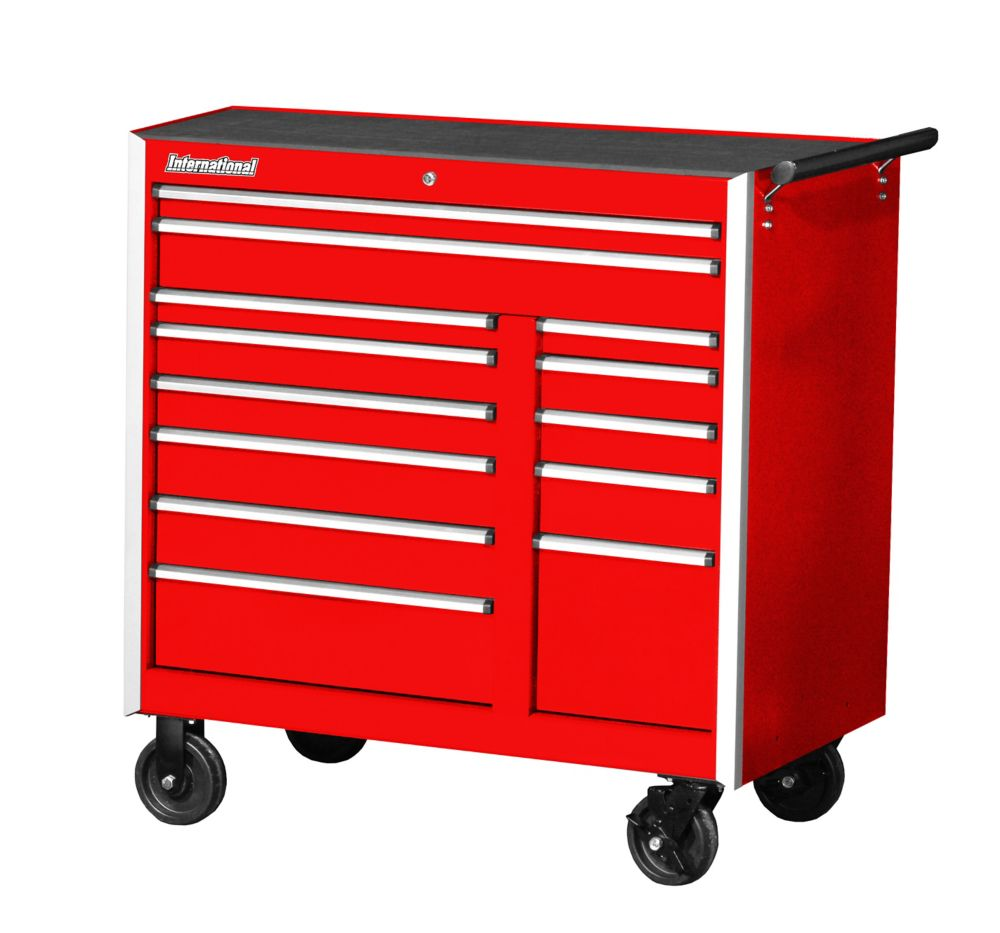 42 Inch. Professional Series  13 Drawer Extra Deep Cabinet, Red