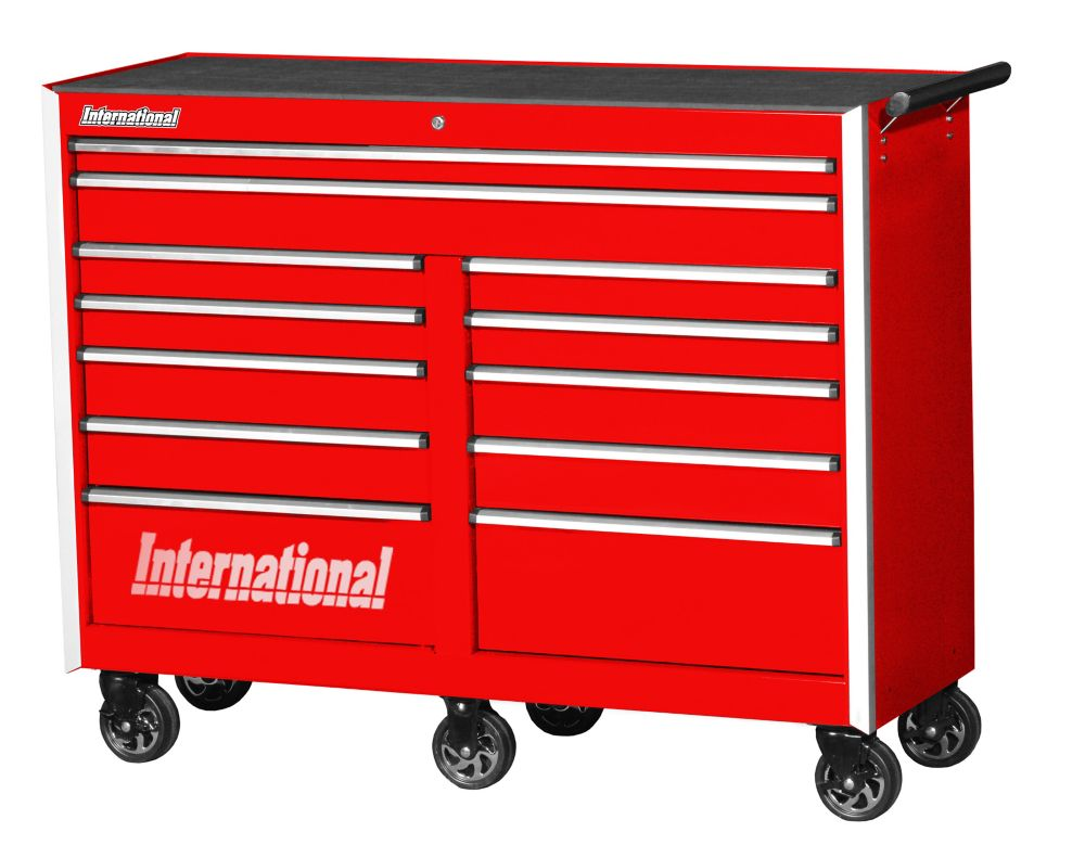 Professional Series, 54 Inch. 12 Drawer Tool Cabinet, Red