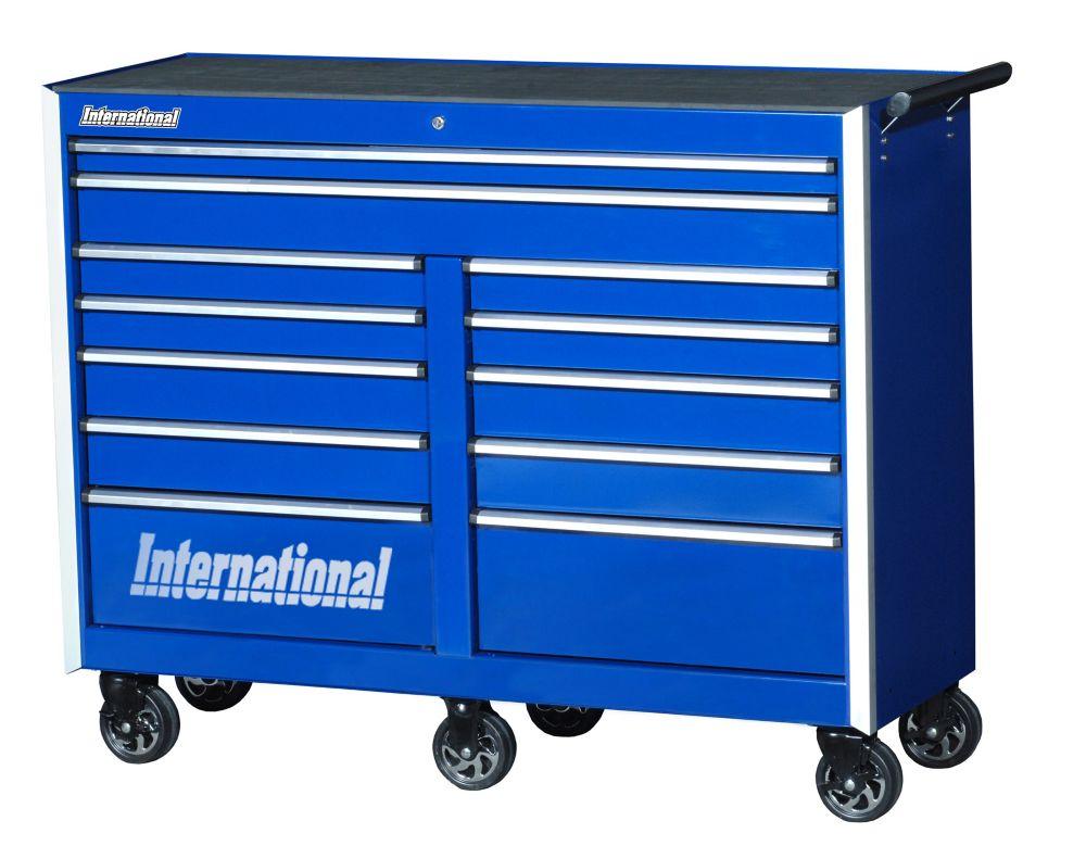 Série Professionelle, Armoire à 12 tiroirs, 54 po, bleu