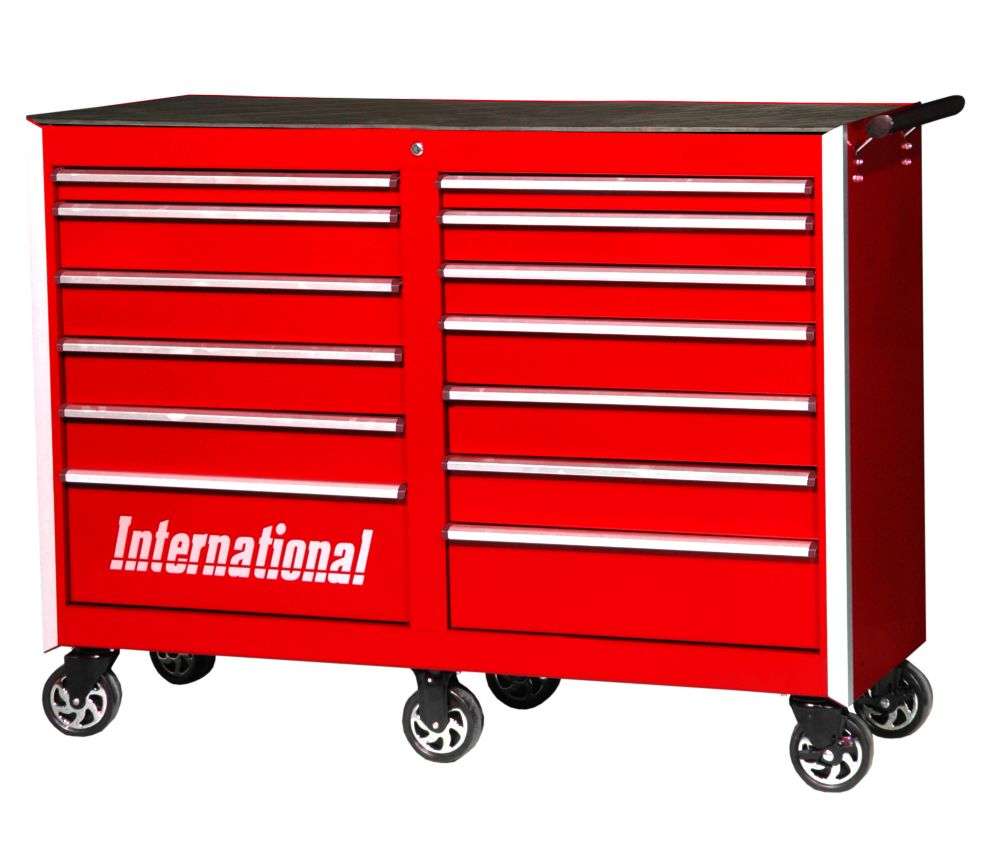 54 Inch Professional Series 13 Drawer Tool Cabinet, Red