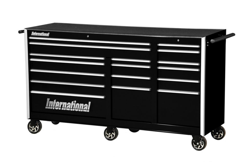 75 Inch. Professional Series 17 Drawer Deep Tool Cabinet, Black