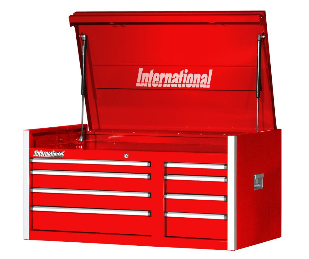 42 Inch. Professional Series 8 Drawer, Extra Deep Top Chest, Red