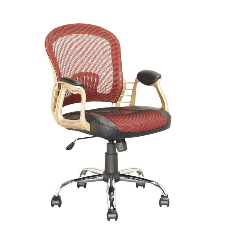 LOF-258-O Executive Office Chair in Black Leatherette and Red Mesh