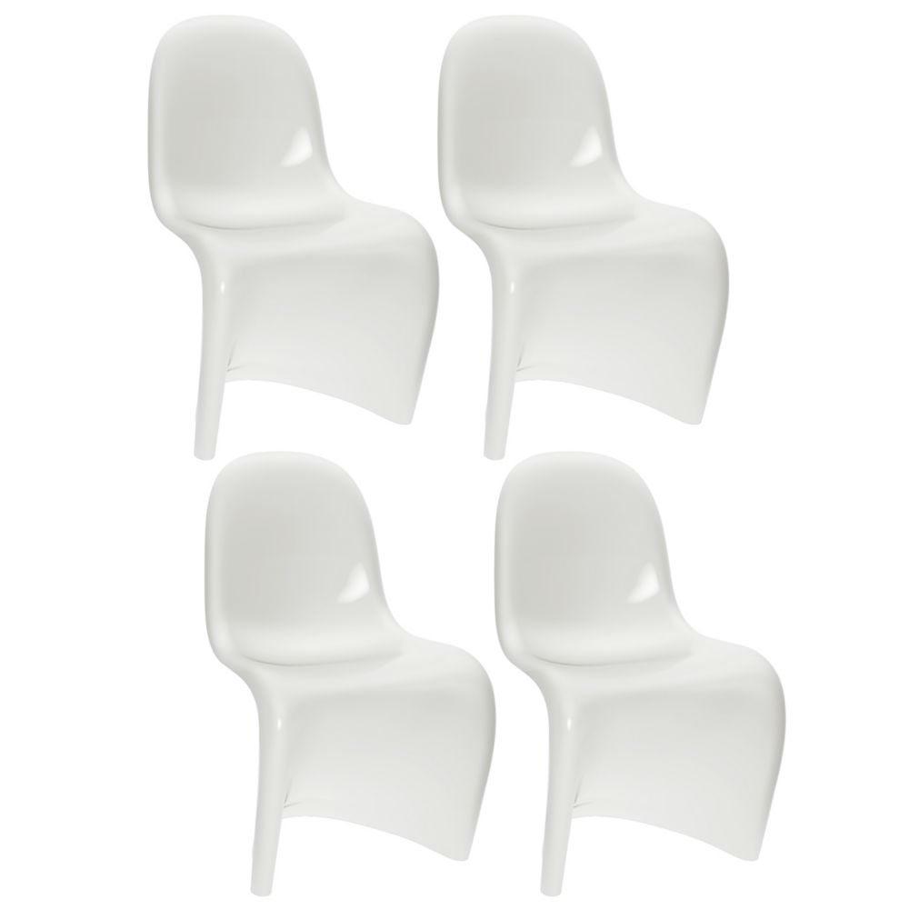 B-511-BAD Continuous Form Dining Chair in White Gloss, set of 4