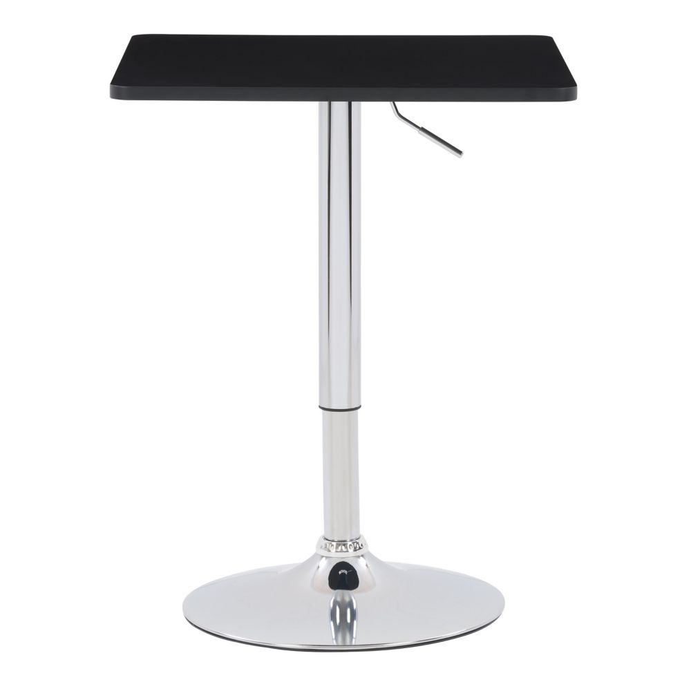 23.5-inch x 23.5-inch Adjustable Height Square Wooden Table in Black with Chrome Base