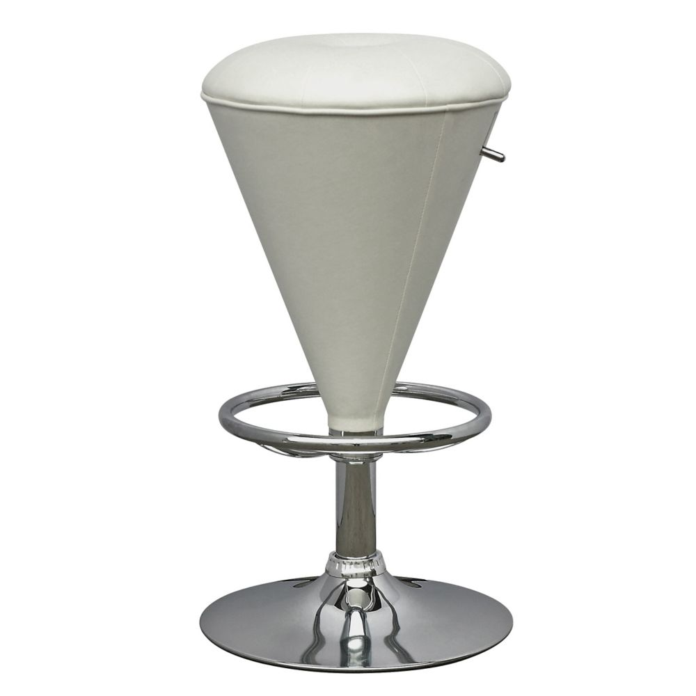 DPU-515-B Cone Shaped Adjustable Barstool in White Leatherette