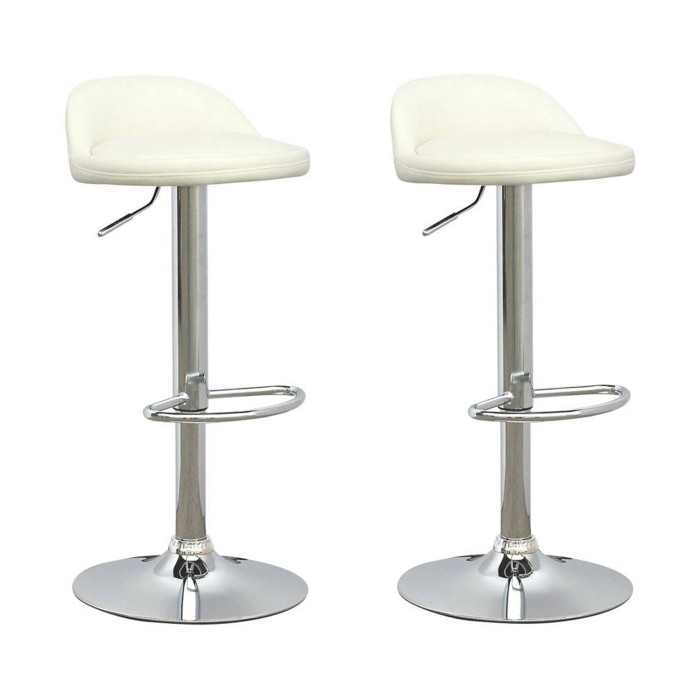 DPU-516-B Low Profile Adjustable Barstool in White Leatherette, set of 2