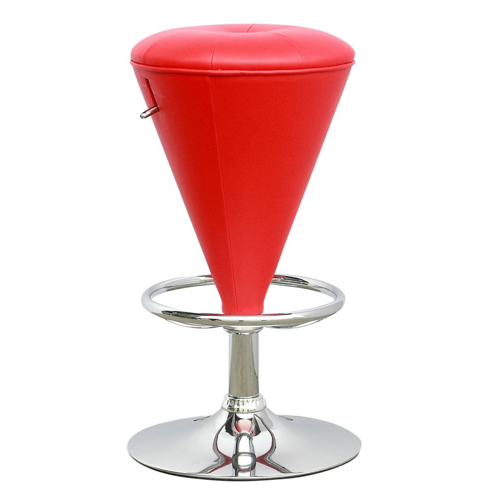 DPU-555-B Tabouret conique ajustable en similicuir rouge