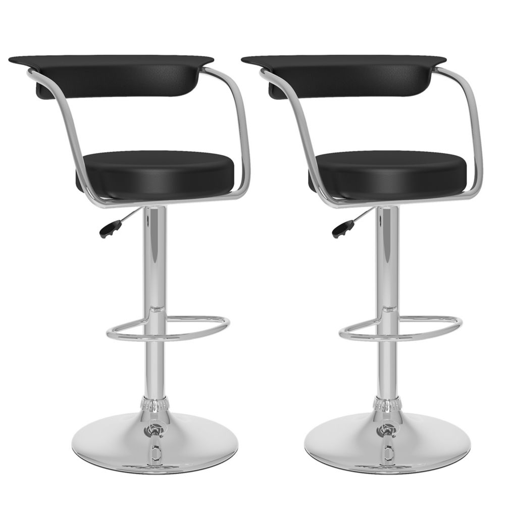 Corliving B 107 UPD Metal Chrome Low Back Armless Bar Stool with Black Faux Leather Seat - Set of 2
