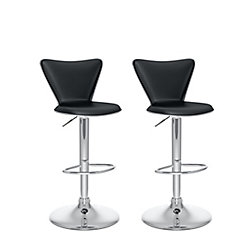 Corliving B 207 UPD Metal Chrome Low Back Armless Bar Stool with Black Faux Leather Seat (Set of 2)