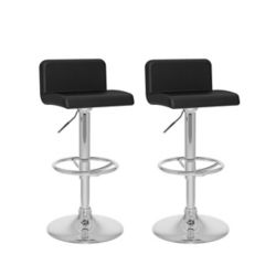 Corliving B 307 UPD Metal Chrome Low Back Armless Bar Stool with Black Faux Leather Seat (Set of 2)