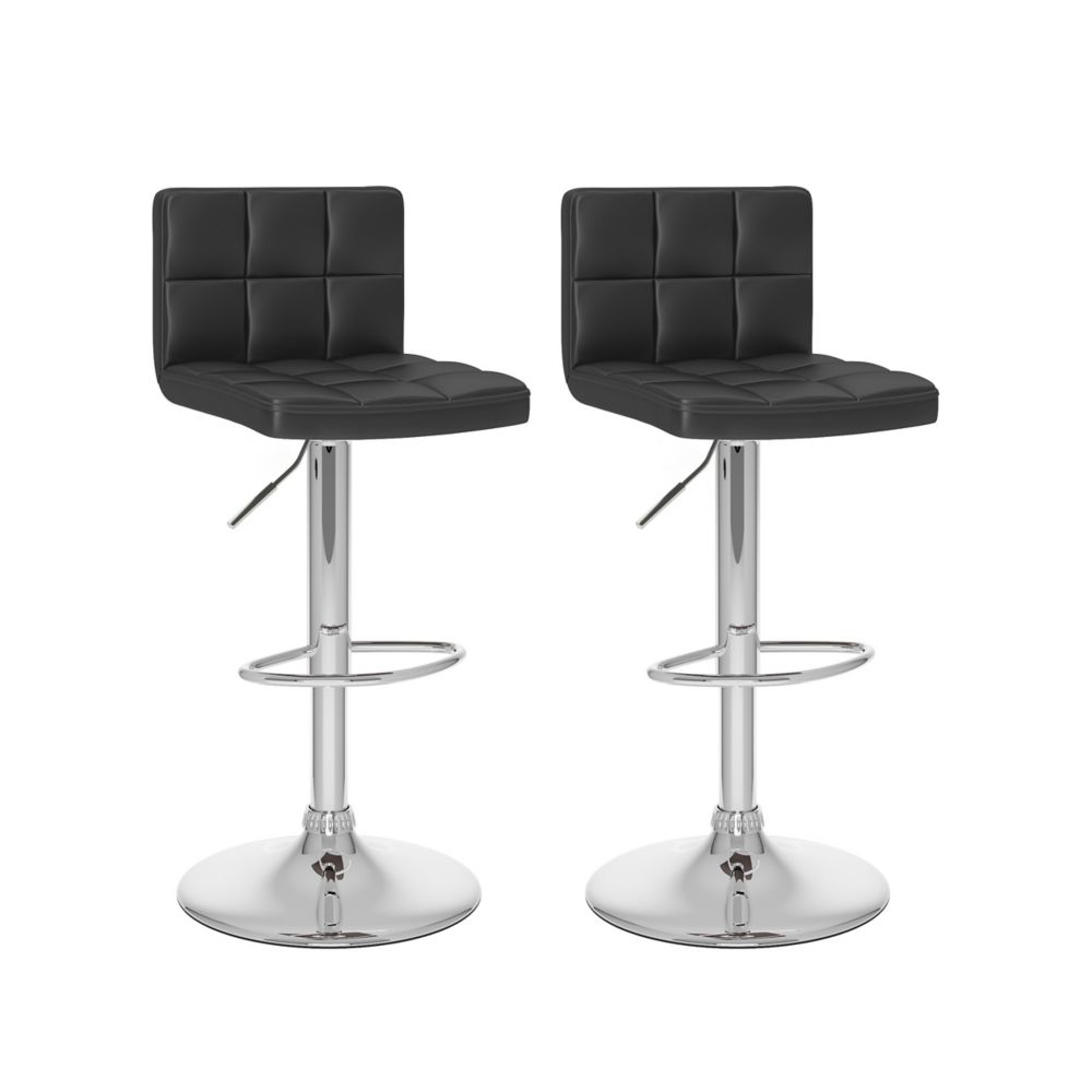Corliving Metal Chrome Contemporary Low Back Armless Bar Stool with Black Faux Leather Seat - (Set of 2)