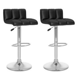 Corliving B 607 UPD Metal Chrome Low Back Armless Bar Stool with Black Faux Leather Seat (Set of 2)