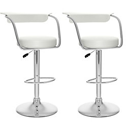 Corliving B 117 UPD Metal Chrome Low Back Armless Bar Stool with White Faux Leather Seat (Set of 2)
