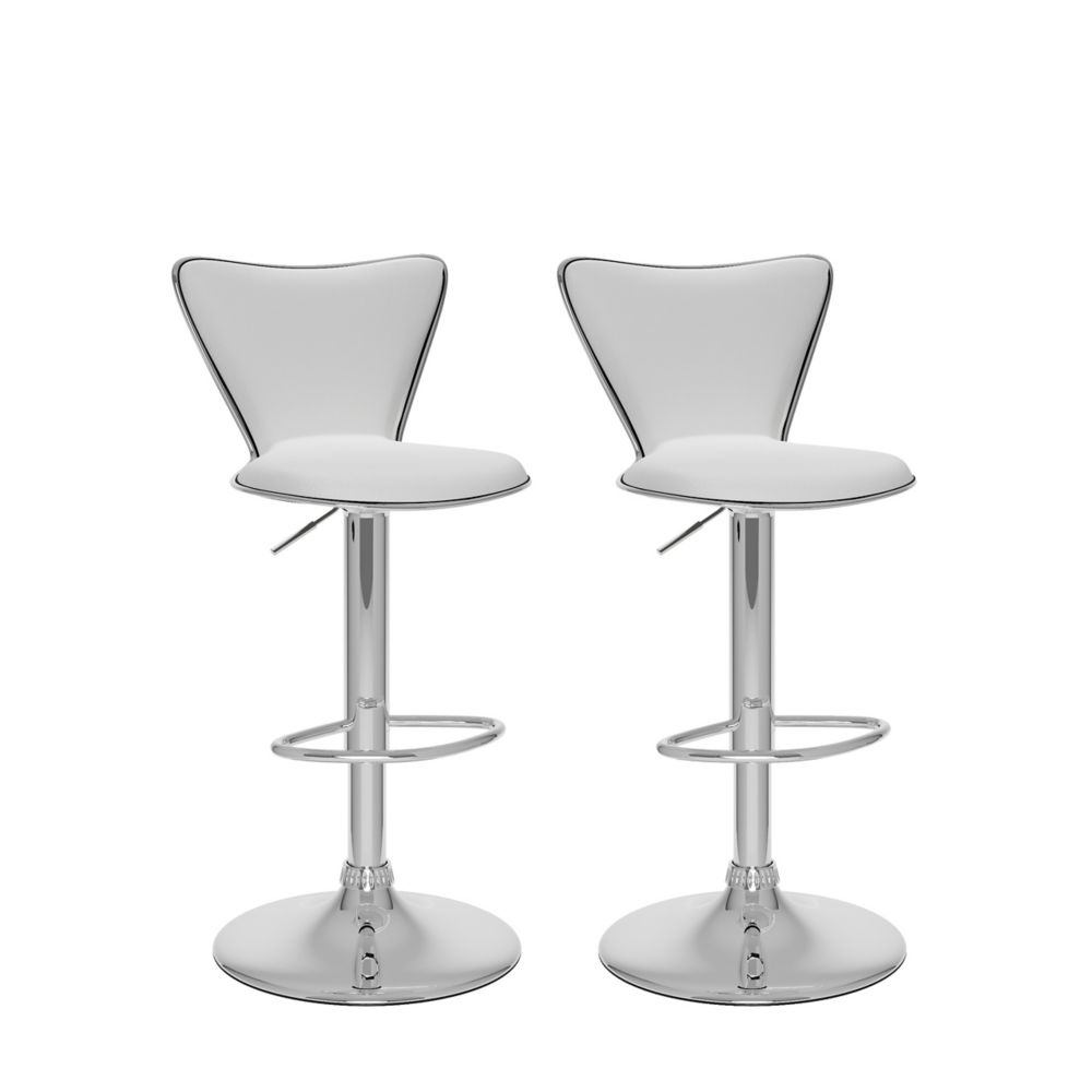 B-217-UPD Tall Curved Back Adjustable Bar Stool in White Leatherette, set of 2