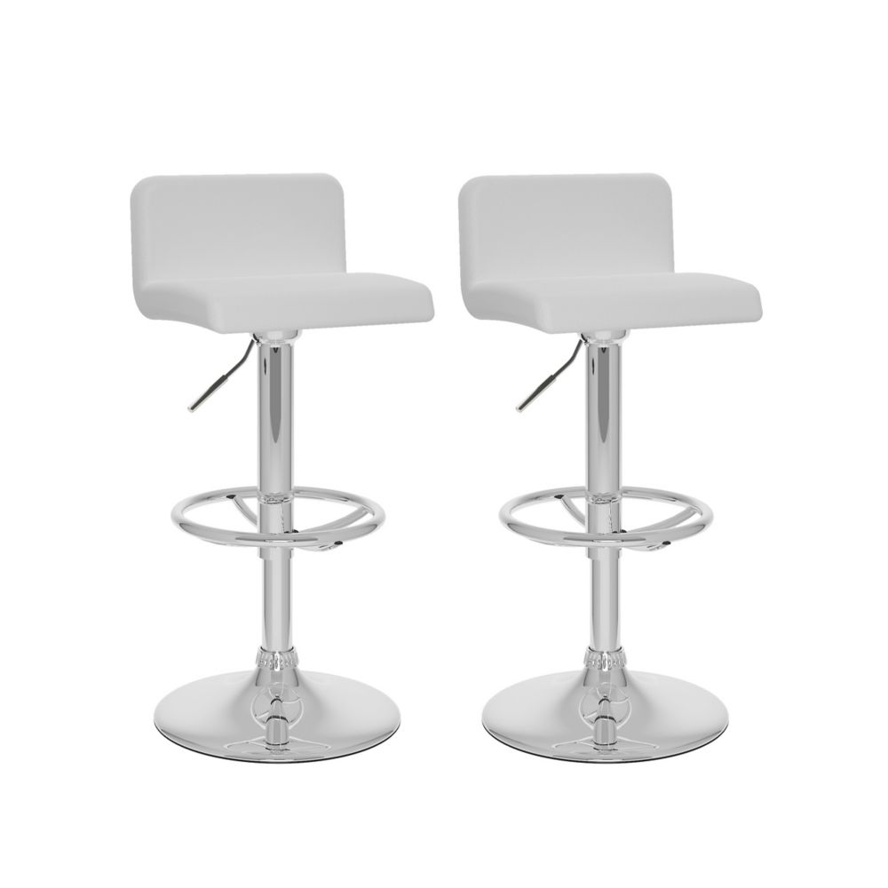 Metal Chrome Contemporary Low Back Armless Bar Stool with White Faux Leather Seat - Set of 2