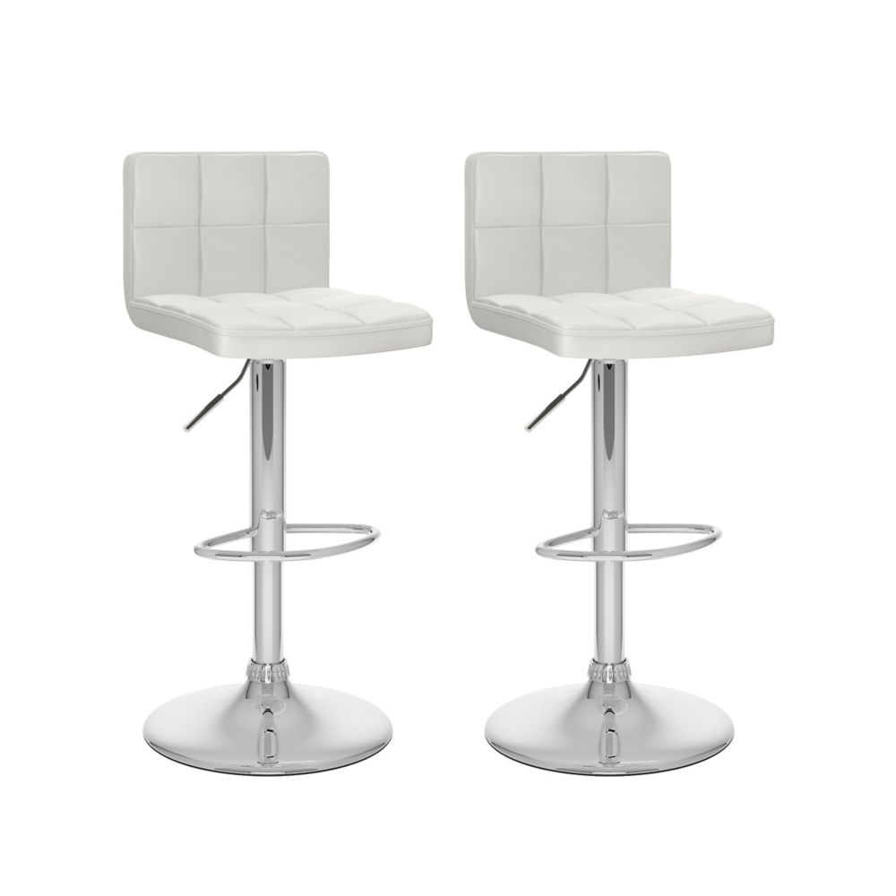 Corliving B 417 UPD Metal Chrome Low Back Armless Bar Stool with White Faux Leather Seat - Set of 2