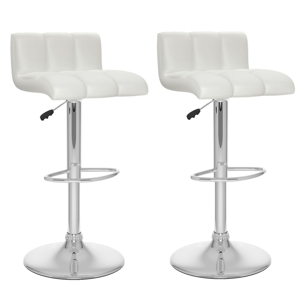 Corliving B 617 UPD Metal Chrome Low Back Armless Bar Stool with White Faux Leather Seat - Set of 2