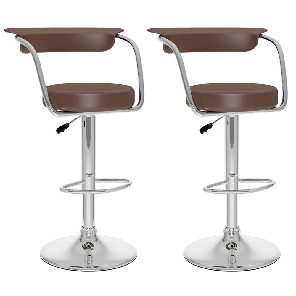 Corliving B 137 UPD Metal Chrome Low Back Armless Bar Stool with Brown Faux Leather Seat - Set of 2