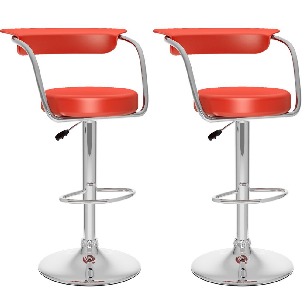 B-157-UPD Open Back Adjustable Bar Stool in Red Leatherette, set of 2