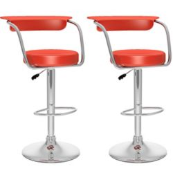 Corliving B 157 UPD Metal Chrome Low Back Armless Bar Stool with Red Faux Leather Seat (Set of 2)