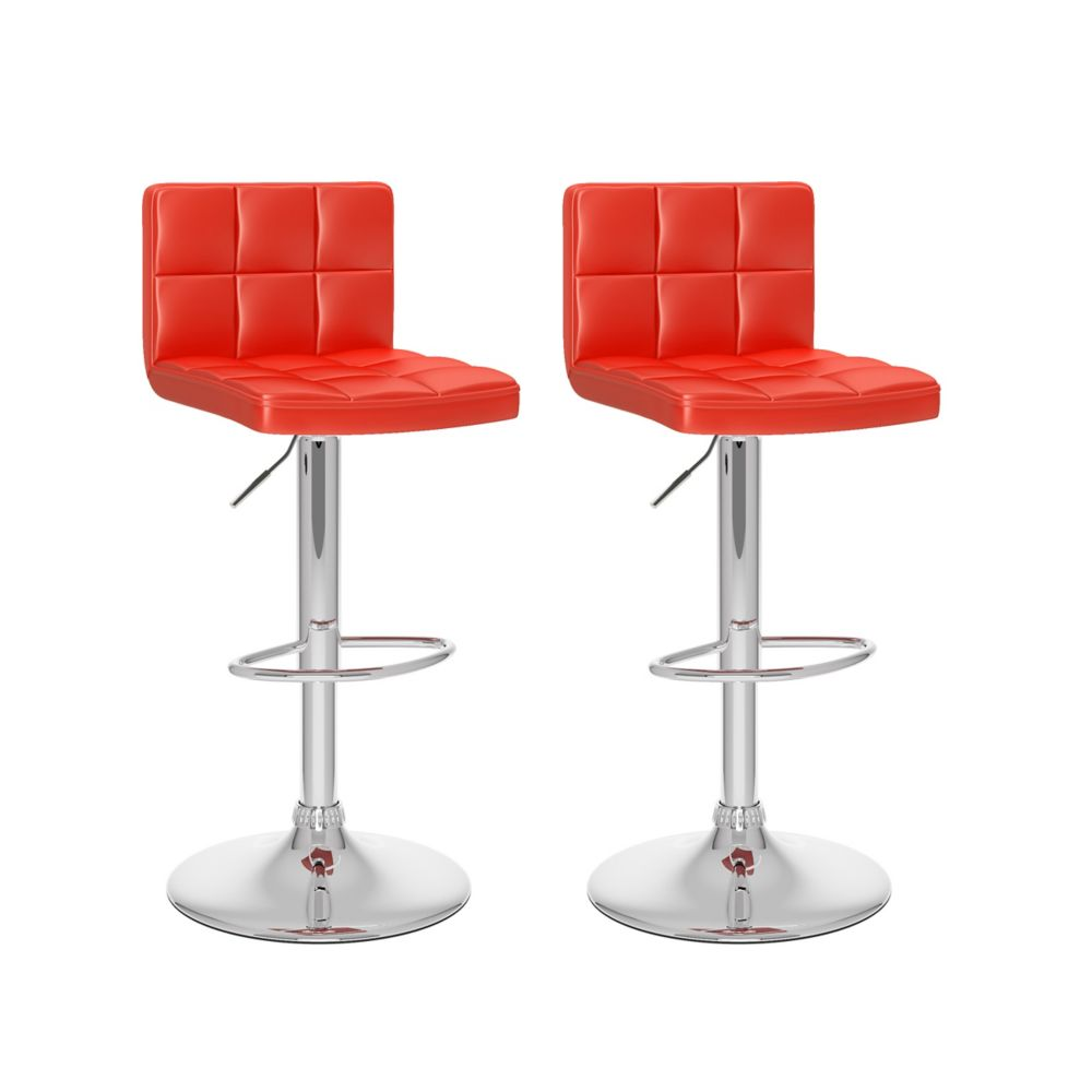 B 457 UPD Metal Chrome Low Back Armless Bar Stool with Red Faux Leather Seat - Set of 2