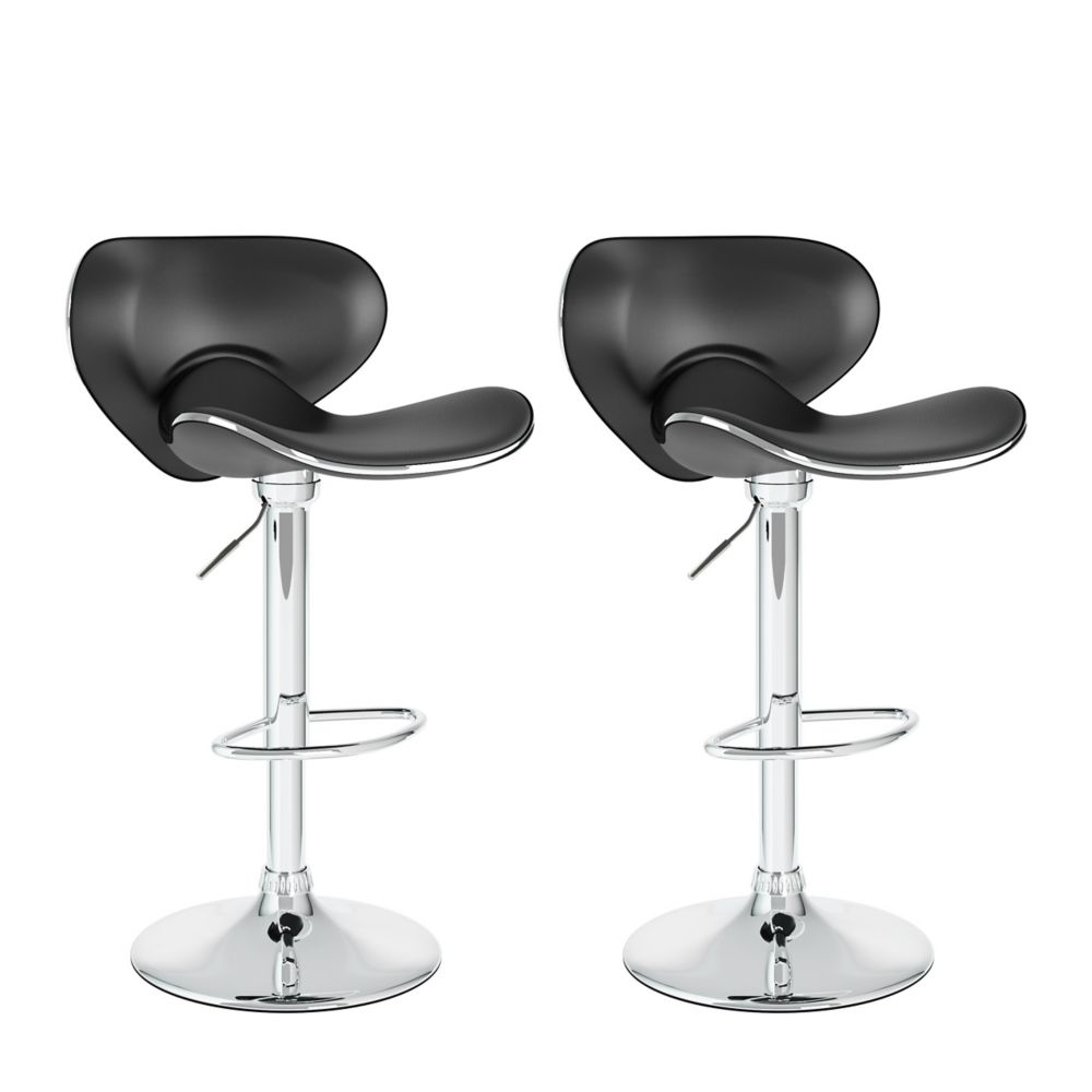 B-502-VPD Curved Form Fitting Adjustable Bar Stool in Black Leatherette, set of 2