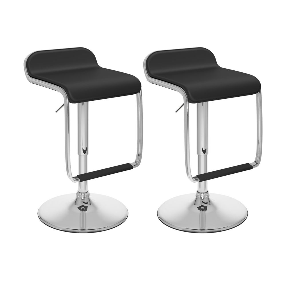 Corliving B 602 VPD Metal Chrome Backless Armless Bar Stool with Black Faux Leather Seat - Set of 2