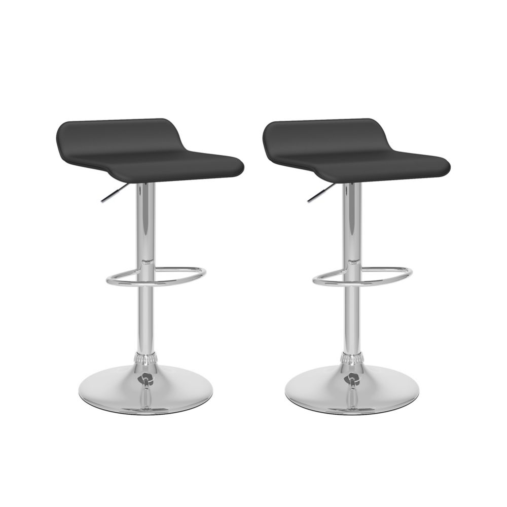 Corliving B 802 VPD Metal Chrome Backless Armless Bar Stool with Black Faux Leather Seat - Set of 2