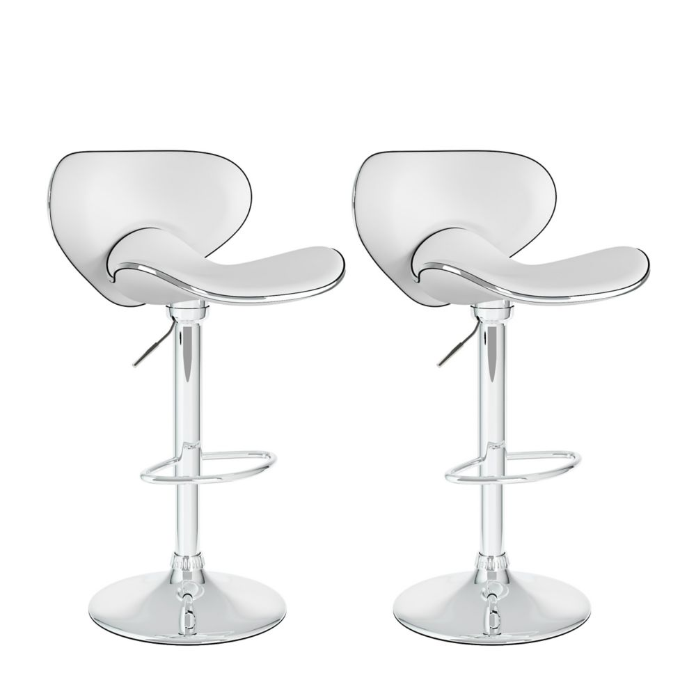 Corliving B 512 VPD Metal Chrome Low Back Armless Bar Stool with White Faux Leather Seat - Set of 2